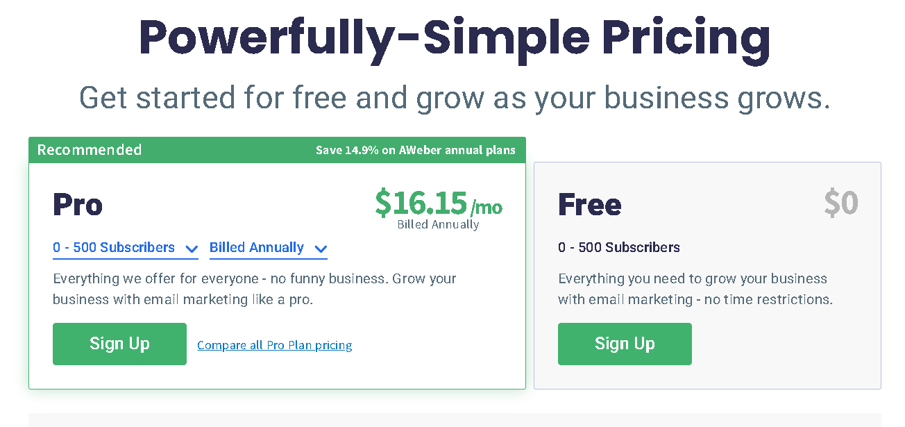 aweber email marketing tool price