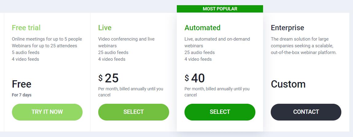 clickmeeting webinar software pricing
