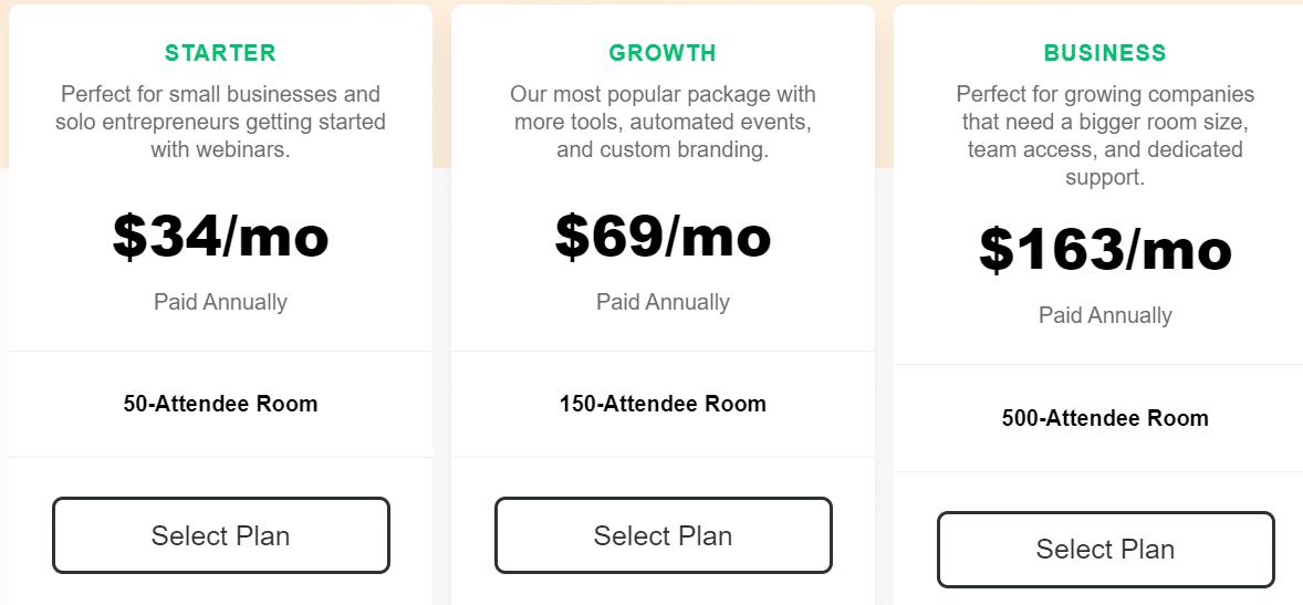 Demio webinar software pricing