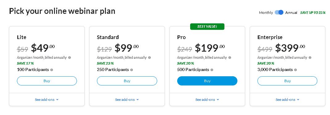 Goto webinar software pricing