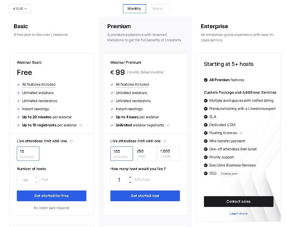 Livestorm webinar software pricing