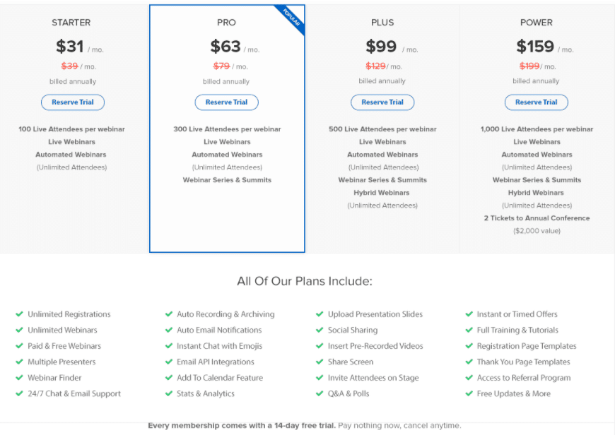 webinarninja webinar software pricing