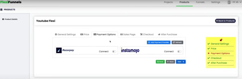 flexi funnels payment integration