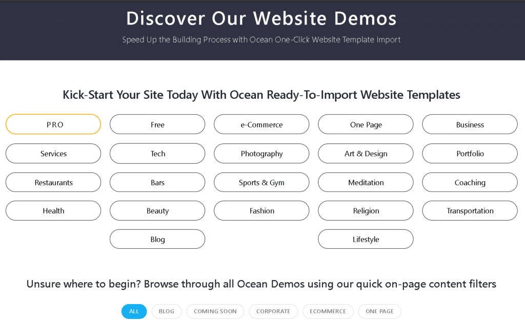 Ocean Wp wordpress theme site library